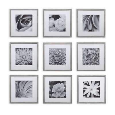 """Gallery Perfect 8"""" x 8"""" (9pc) Square Photo Wall Gallery Kit with De Frame Set Gray - Target"""