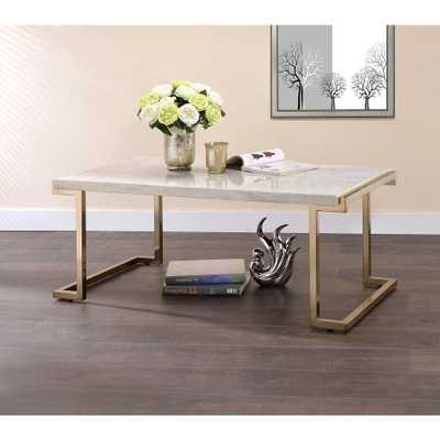 Venetian Worldwide Boice II Faux Marble and Gold Coffee Table, Grey - Home Depot