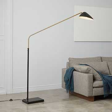 Overarching Curvilinear Mid Century Floor Lamp, Black/Brass - West Elm