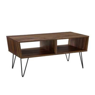 42 Angled Coffee Table with Hairpin Legs Dark Walnut - Saracina Home - Target