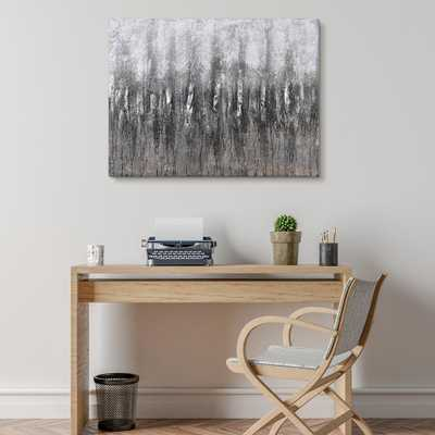 """""""Gray Frequency""""Textured Metallic Hand Painted by Martin Edwards Abstract Canvas Wall Art, Grey - Home Depot"""