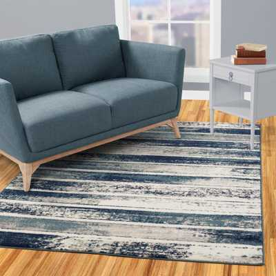 Jasmin Collection Stripes Design Ivory and Navy 8 ft. x 10 ft. Area Rug - Home Depot