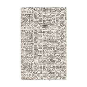 Hieroglyph Print Wool Rug, Slate, 5'x8' - West Elm