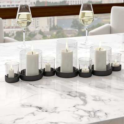 7 Piece Iron and Glass Hurricane Set - Birch Lane