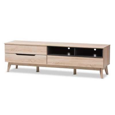 Fella Light Brown Wood TV Stand - Home Depot