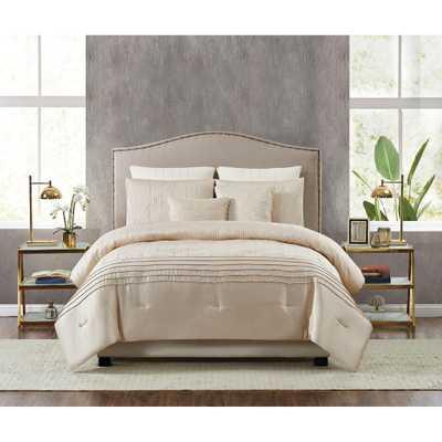 Fifth Avenue Lux Noelle 7-Piece Gold Queen Comforter Set - Home Depot
