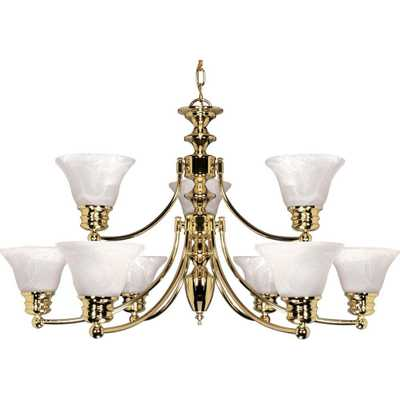 Glomar 9-Light Polished Brass Chandelier with Alabaster Glass Bell Shades - Home Depot