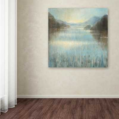 """35 in. x 35 in. """"Through the Mist Square"""" by Danhui Nai Printed Canvas Wall Art, Blue - Home Depot"""