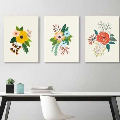 Flowers by Suren Nersisyan - 3 Piece Picture Frame Print Set on Canvas - AllModern