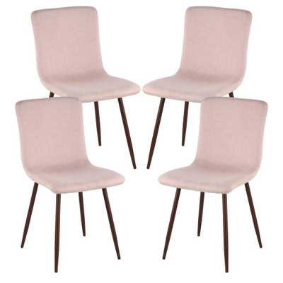 Wadsworth Dining Chair with Walnut Legs in Pink (Set of 4) - Home Depot