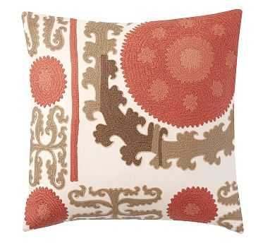 """Suzani Embroidered Pillow Cover, 26"""", Red Multi - Pottery Barn"""