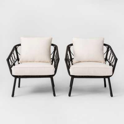 Britanna 2pk Patio Club Chair Black/Linen - Opalhouse - Target