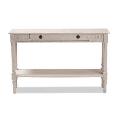 Ariella Whitewashed Console Table - Home Depot