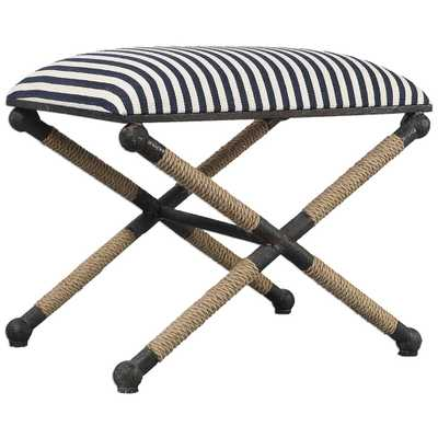 Devin Coastal Beach Sailor Stripe Roped Iron Stool - Kathy Kuo Home