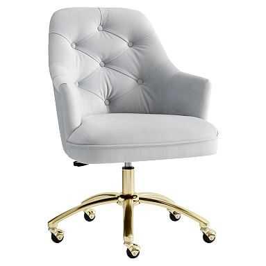 Tufted Swivel Task Chair, Lustre Velvet Silver - Pottery Barn Teen