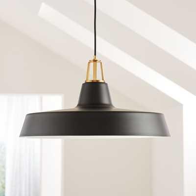 Maddox Black Farmhouse Pendant Large with Brass Socket - Crate and Barrel