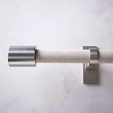 """Mid Century Rod + 2 Brackets, 28""""-48"""", White Wash/Brushed Nickel - West Elm"""