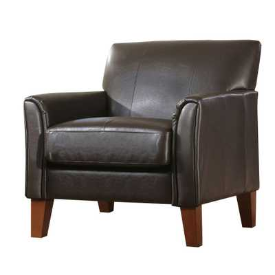Dark Brown Vinyl Arm Chair - Home Depot