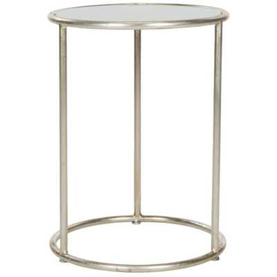 Shay Silver and Gray Glass Top End Table, Silver/Gray - Home Depot