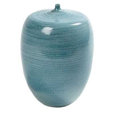 Anya Modern Classic Blue Ceramic Horizontal Pattern Decorative Bottles - Large - Kathy Kuo Home