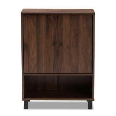 Baxton Studio Rossin 32 in. H x 24 in. W 8-Pair Walnut Wood Shoe Storage Cabinet, Brown - Home Depot