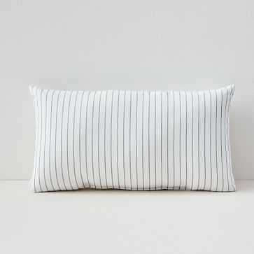 "Sunbrella Indoor/Outdoor Striped Lumbar Pillow, Cloud, 12""x21"" - West Elm"