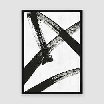 "Framed Prints - Abstract Ink Brush - Running Man, 29"" X 40"" - West Elm"