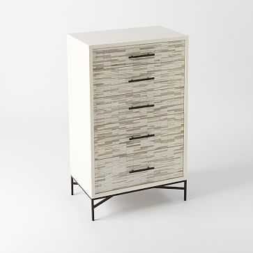 Wood Tiled 5-Drawer Dresser, White - West Elm
