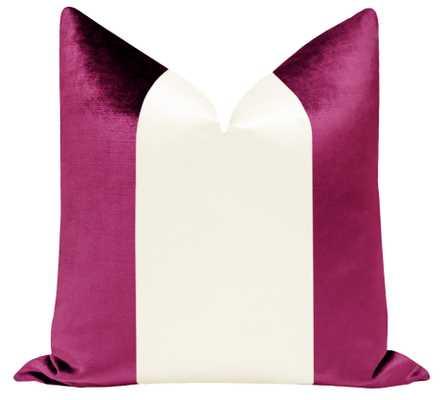 "PANEL Colorblock :: Faux Silk Velvet // Magenta + Alabaster Silk - 22"" X 22"" - Little Design Company"