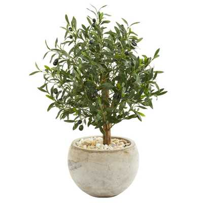 Nearly Natural Indoor 31-In. Olive Artificial Tree in Bowl Planter - Home Depot