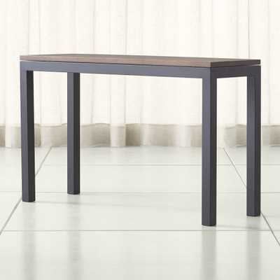 Parsons Walnut Top/ Dark Steel Base 48x16 Console - Crate and Barrel