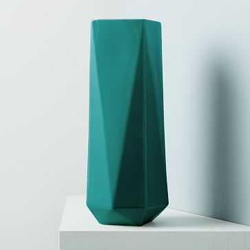 """Faceted Porcelain Vase, 12"""", Blue Teal - West Elm"""