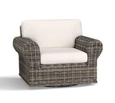 Huntington Roll-Arm Swivel Occasional Chair , Gray - Pottery Barn