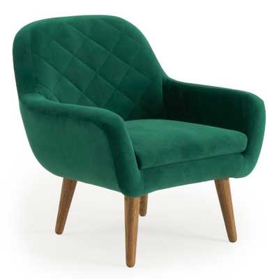 RST Brands Isobel Emerald Green Upholstered Diamond Pattern Accent Chair - Home Depot