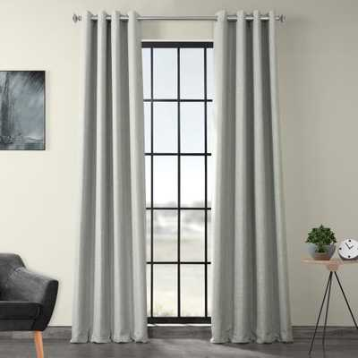 Exclusive Fabrics & Furnishings Heather Gray Faux Linen Grommet Blackout Curtain - 50 in. W x 96 in. L - Home Depot