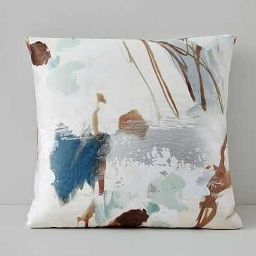"Gilded Watercolor Brocade Pillow Cover, 20""x20"", Silver Pine - West Elm"