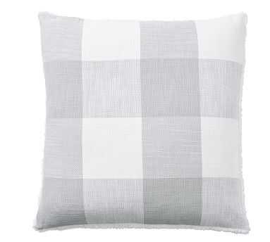 "Bryce Check Sherpa Back Pillow, 24"", Gray - Pottery Barn"