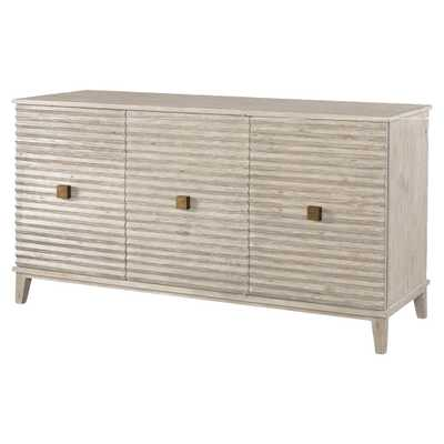 Mr. Brown Belmont Modern Classic Rustic White Corrugated Sideboard - Kathy Kuo Home