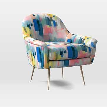 Phoebe Midcentury Chair, Poly, Painter's Palette, Pink Multi, Brass - West Elm