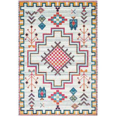 Richelle Tribal Medallion Silver 8 ft. x 10 ft. Area Rug - Home Depot