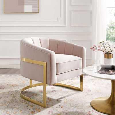 Modway Esteem Pink Vertical Channel Tufted Performance Velvet Accent Armchair - Home Depot