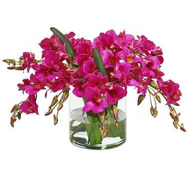Faux Dendrobium in Cylinder Vase - Fuchsia - Pottery Barn