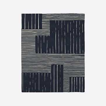 MTO Painted Mixed Stripes Rug, Midnight, 8x10 - West Elm