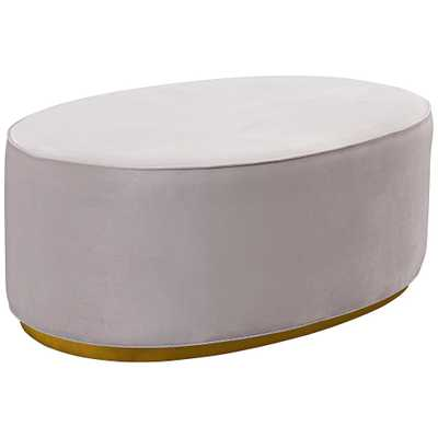 Scarlett Blush Gray Velvet Oval Ottoman - Style # 58T82 - Lamps Plus