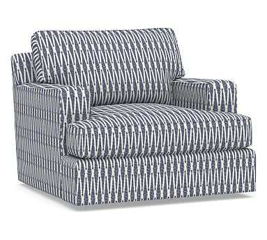 Townsend Square Arm Upholstered Swivel Armchair, Polyester Wrapped Cushions, Shalimar Jacquard Blue - Pottery Barn