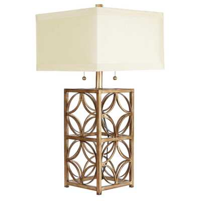 Silverwood Ardent 25.5 in. Gold Table Lamp with Linen Shade - Home Depot