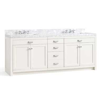 Davis Double Sink Vanity with Drawers, Almond White with Carrara Marble - Pottery Barn