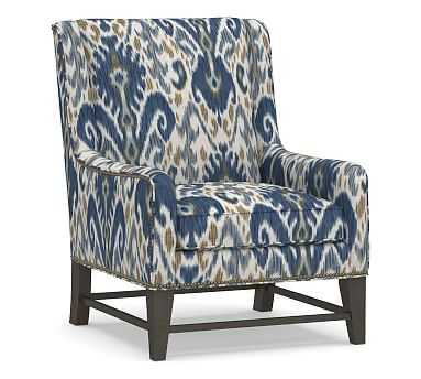 Berkeley Upholstered Armchair, Polyester Wrapped Cushions, Ikat Geo Blue - Pottery Barn