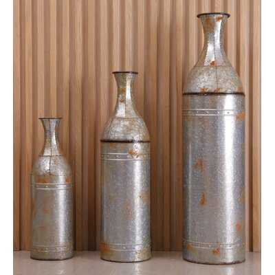 Hynes Farmhouse Galvanized Metal Decoration 3 Piece Floor Vase Set - Wayfair