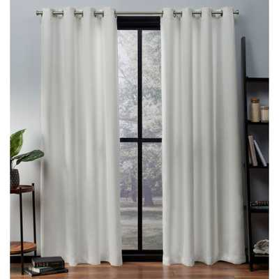 Oxford Textured Sateen Thermal Room Darkening Grommet Top Window Curtain Panel Pair Vanilla (White) 52x108 - Exclusive Home - Target